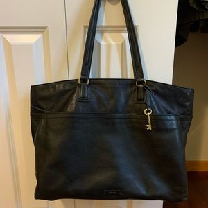 Large Leather Fossil Tote Bag